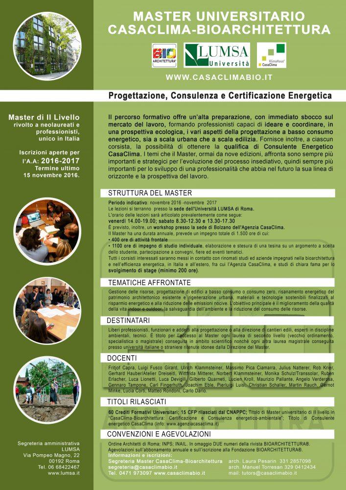 Master di ii livello casaclima bioarchitettura 2016 2017 for Casaclima 2017